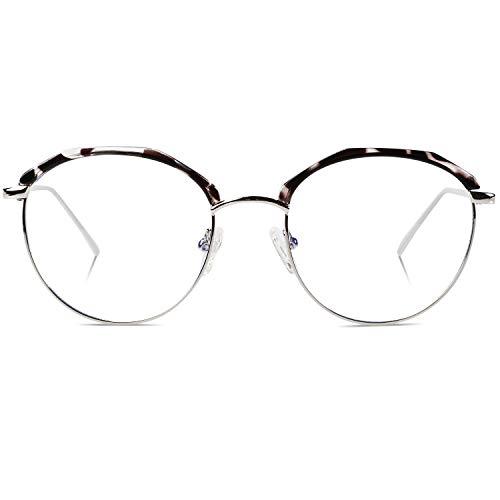 DUCO Retro Round Anti Eyestrain Blue Light Blocking Glasses Computer Reading Gaming TV Glasses for Women Men DC307 (Grey Tortoise)