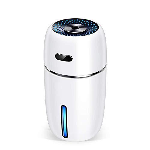 Oyria Humidificador de vapor frío silencioso, 300 ml, humidificador de aire portátil USB con 7 colores de luz LED, filtro libre, apagado automático sin agua para el hogar, dormitorio, oficina, blanco