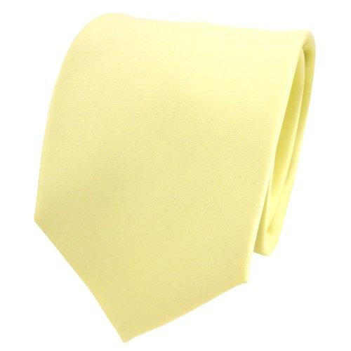 TigerTie Designer Satin Krawatte in gelb blassgelb einfarbig uni