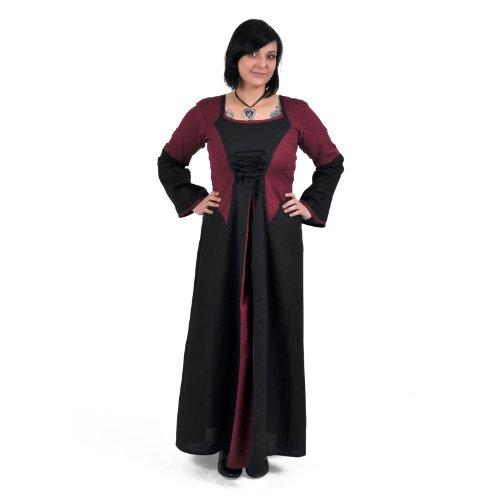 La edad media vestido de Elena de algodón/lino - rojo/negro - vestido medieval