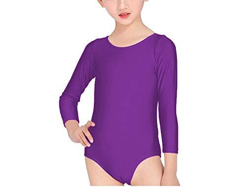 Carnavalife Maillot Ballet Danza Niña de Manga Larga y Cuello Redondo (Morado, 10-12 años)