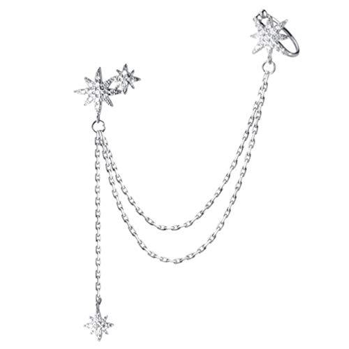 PRETYZOOM Brincos longos de prata esterlina com borla pendente, flocos de neve, brincos de corrente longa com strass, acessório de orelha para mulheres (prata)