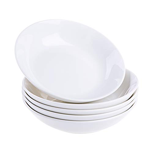 Cutiset 8 Inch Porcelain Salad/Pasta/Soup Bowls, 27 Ounce, Set of 6,White, Shallow & Wide (8-inch/ 27 Ounce, Round)