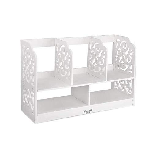 Zhenwo Standregal Bücherregal Kleines Regal Bücherregal Aufsatzregal Aufbewahrungsregal Tisch-Organizer Für Wohnzimmer Badezimmer,Weiß