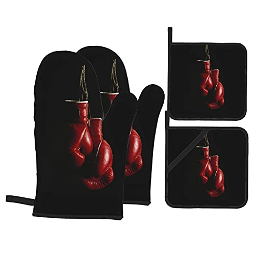 4Pcs Ofenhandschuhe und Topflappen Set,Hängende Boxhandschuhe,Hitzebeständige Küchenhandschuhe zum Kochen,Backen,Grillen,Grillen