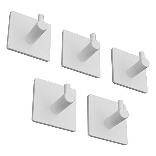 BasicForm Ganchos Adhesivos de Acero Inoxidable Ultra Fuerte Adhesivo para Baño y Cocina Blanco (1-Gancho x 5 Piezas)