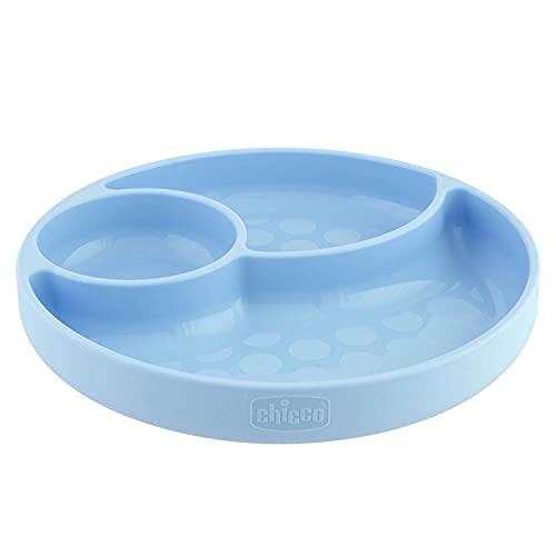 Chicco Piatto con Ventosa per Bebè e Bambini, Piatto Pappa in Silicone a Scomparti con 3 Aree, Morbido e Resistente, Lavabile in Lavastoviglie, Adatto per il Microonde, Senza BPA - 12+ Mesi, Azzurro