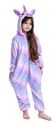Pijama infantil de unicornio, unisex, una pieza, disfraz para Halloween o disfraz de animal Morado B (unicornio morado) 130 cm
