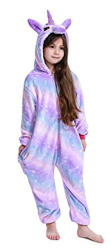 PENGMAI Tier Einhorn Pyjamas Cartoon Kostüm Jumpsuit Nachtwäsche Kinder Schlafanzug Erwachsene Unisex Fasching Cosplay Karneval