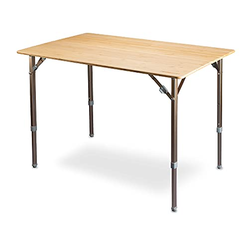 Campingtisch XXL Design Bambusplatte + integriertem Flaschenöffner, 6 Personen Tisch, XL-Tragkraft bis 50Kg. Höhenverstellbar, inkl. Tansporttasche