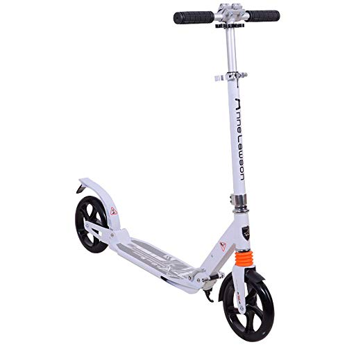 ChenyanAwesom Scooter for Kids Adult Pedal Scooter Two-Wheel Aluminum Alloy Two-Wheel Collapsible Large Wheel Shock Absorption Non-Electric One-Button Comfortable and Safe (Color : White)