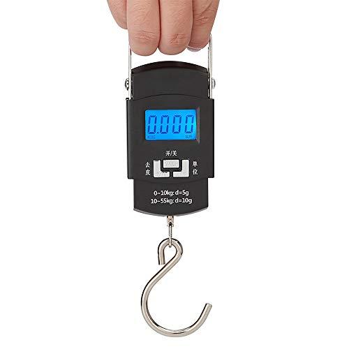 Yajun Báscula Digital Electrónica Gancho para Colgar Peso Viaje Alta Precisión Portátil Mini Balanzas de Mano para Equipaje Pesca 50 KG 10g