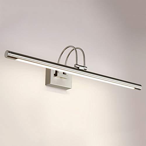 Modern Badezimmer LED Spiegellampe 62cm in Chrom Schwenkbare, Wandlampe Spiegelleuchte 9W 4500K warmweißeslicht, Wandleuchte für Bad Spiegel Kabinett Wohnzimmer Wandbild