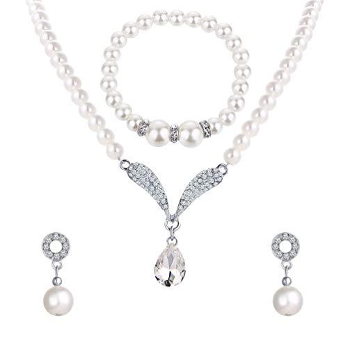 Holibanna Collar de Cristal Joyas Pendientes de Novia Conjunto Pendientes de Diamantes Pulsera de Novia Pulsera de Cuentas para Fiesta Boda Mujer Niña