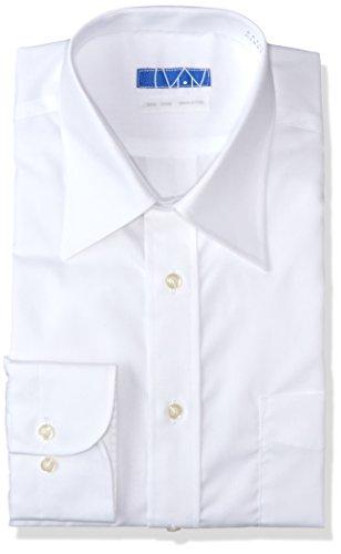 [スマートビズ] ノーアイロン 長袖ワイシャツ 洗って干してそのまま着る 綿100% の優しい着心地 シンプルがかっこいい シーンを選ばないデザイン 超形態安定 EATO22 メンズ 01 白 ブロード レギュラー 首回り41cm裄丈82cm