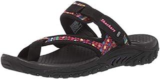 Skechers Women's Reggae-MAD Swag-Toe Thong Woven Sandal, Black, 7 M US