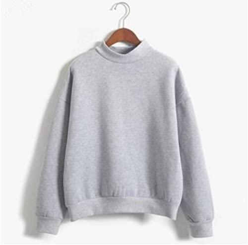 Pequeño suéter grueso suelto de cuello alto, suéter de color sólido más vellón, uniforme de béisbol para damas, chaqueta de estudiante, top de manga larga, traje deportivo, chaqueta de manga larga