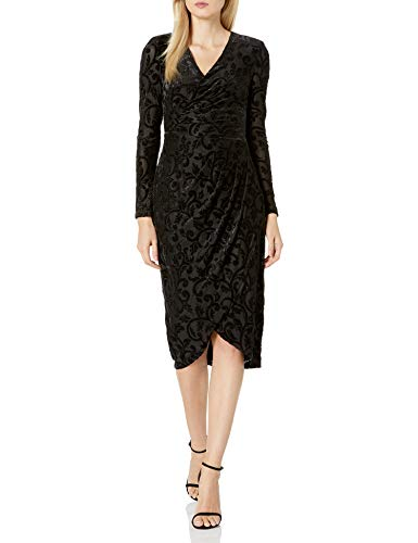 Adrianna Papell Women's Plus Size Lurex Velvet Off Draped Sheath, Black, 16W