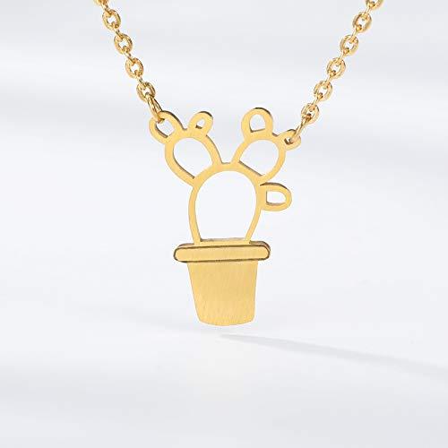 DJINGSN Gold Pot Culture Bonsai Cactus Collares y Colgantes
