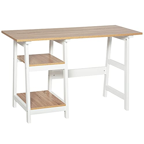 HOMCOM Compact Computer Desk with Storage Shelves Study Table with Bookshelf PC Table Workstation...