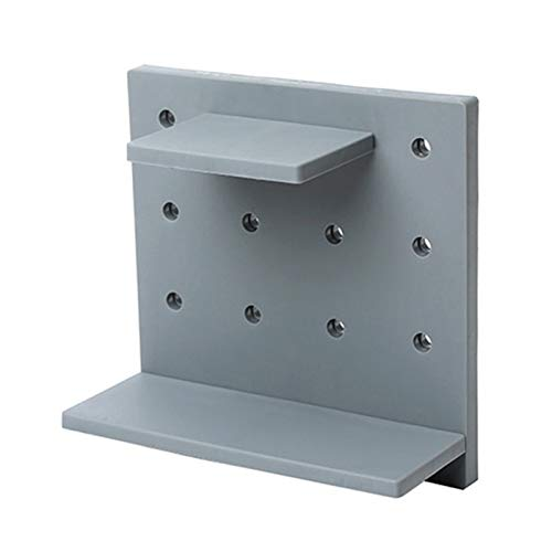 Wall Shelves Brackets Wall-Mounted Hole Plate Storage Rack Plastic Hole Board Wall Shelf Home Organizer Accessories Wall Deco Living Room Kitchen (Color : Gray)