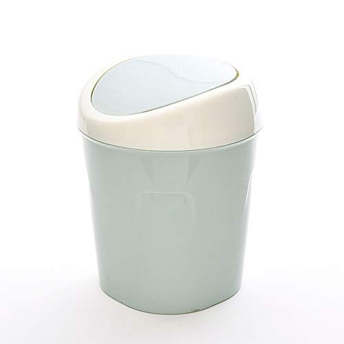 JUNGEN Papeleras de Escritorio con Diseño de Tapa Flexible Pequeño Bote de Basura de plástico Mini Cubo de Basura para Mesa de Oficina Baño Dormitorio Sala de Estar Estilo nórdico (Azul)