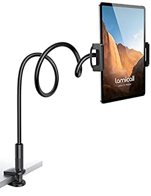 """Lamicall Gooseneck Tablet Holder, Flexible Tablet Stand - 360 Adjustable Lazy Arm Holder Clamp Bracket Bed for 2020 New iPad Pro 9.7, 10.5, iPad Air mini 2, 3, 4, Tab, Switch, 4.7-11"""" Devices - Black"""