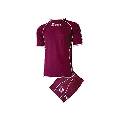 Kit Zeus Shox Granata-Bianco Completino Completo Calcio Calcetto Muta Torneo Scuola Sport (S)
