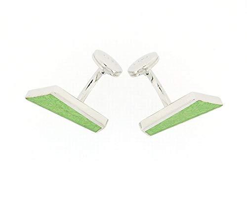 La Olivia Collection CL4003 - Boutons de Manchette en Argent 925 de Forme Diagonale au Design Feuillu Vert