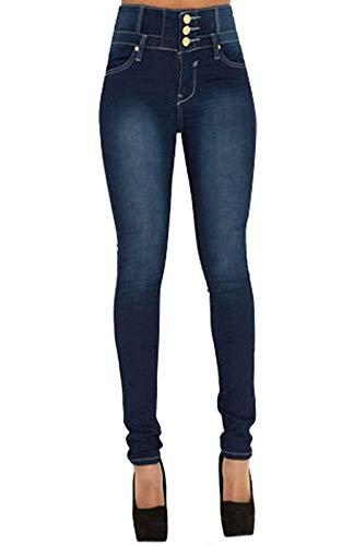 Pantalon Femme Jean Denim Taille Haute Skinny Slim Stretch Push Up Casual Vintage Jeans avec Boutons (Bleu, M)