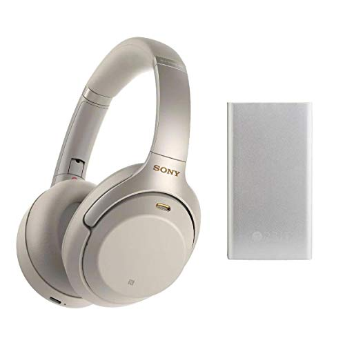 Sony WH-1000XM3 Wireless Noise-Canceling Over-Ear Headphones, Silver - with Orbit Powerbank Charger and Bluetooth Tracker Silver