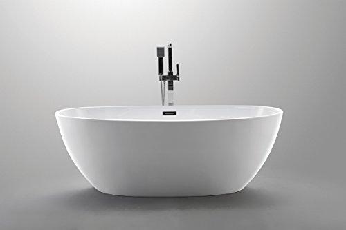 Luxury 59x32 Modern Contemporary Freestanding Acrylic Soaking Spa Bathtub - cUPC Certified American Standard Acrylic Oval Tub