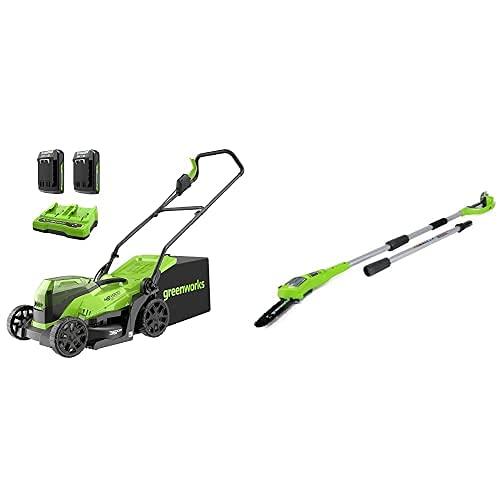 Greenworks Tools 2513407UC Cortacésped, 48V + Podador de Pértiga de Batería G24PS20, Li-Ion 24V 20 cm longitud espada 6.7m/s Velocidad de cadena, 280 cm Barra aluminio, 3 Piezas