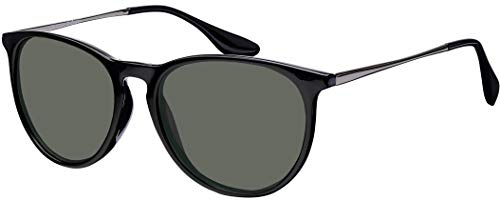 Sonnenbrille La Optica UV 400 Schutz Unisex Damen Herren Vintage Rund Round - Rahmen Schwarz Glänzend (Gläser: Grün/Grau Klassisch)