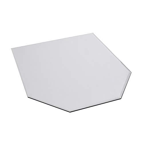 FIREFIX 1952/3 Glasbodenplatte (Hitzeschutz Ofen), Sechseck-Bodenplatte (1.000 x 1.200 x 900 mm), 8 mm Starkes Klarglas (Sicherheitsglas ESG) mit Facettenschliff (20 mm, umlaufend), Transparent