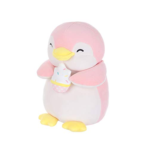 MINISO Cute Penguin Plush Toy Pillow Lovely Stuffed Animal Doll Ice Cream Character, for Kids 13 Inches