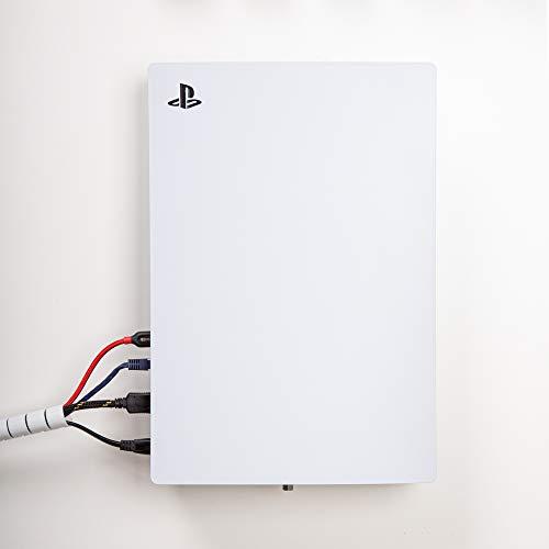 Borangame, Wandhalterung Spielkonsolentisch für PlayStation 5 Disk und Digital, Vertikal Befestigung PS5, Ständer in pulverbeschichtetem Eisen, Weiß