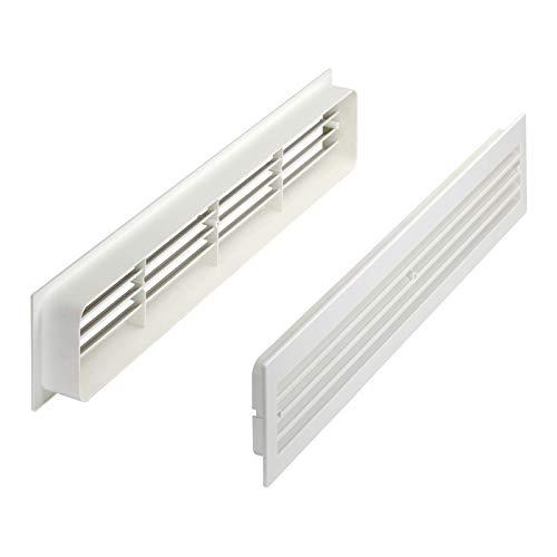 Lüftungsgitter BRISE 457 x 92 x 17 mm weiß doppelseitig durchblicksicher Schlitzlochung Schlitzgitter Abluftgitter Türlüftungsgitter von SO-TECH