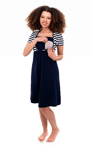 Herzmutter Stillnachthemd-Umstandsnachthemd - Schwangerschafts-Nachthemd mit Stillfunktion - Nachtwäsche für Schwangerschaft-Stillzeit-Wochenbett - Streifen-Maritim - 2800 (M, Blau/Weiß)