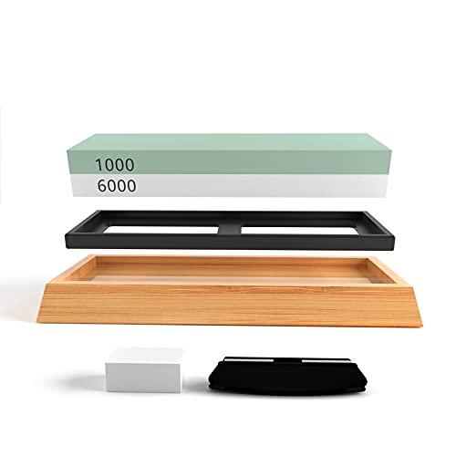 Knife Sharpening Stone Whetstone kit Double-Sided 1000 /6000 Grit, Kitchen Knife Sharpeners, Wet Stones Tool Kit For Sharpening Knife include Non-Slip Bamboo Base, Flattening Stone, Angle Guide
