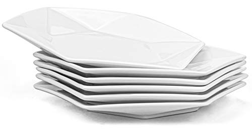 Yesland 6 Pack Serving Platter Ceramic Salad Plates Porcelain Dinner Plate for Dinner Salad Restaurant Family Party and Kitchen Use, 25.5 x 23 x 3.8cm (Hexagon Shape)