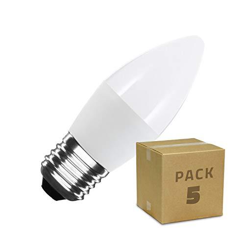 LEDKIA LIGHTING Pack Bombillas LED E27 Casquillo Gordo C37 5W (10 un) Blanco Cálido 2800K - 3200K