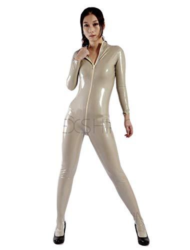Damenbekleidung Concise White Front Open Zipper Damen Latex Catsuits-A_L