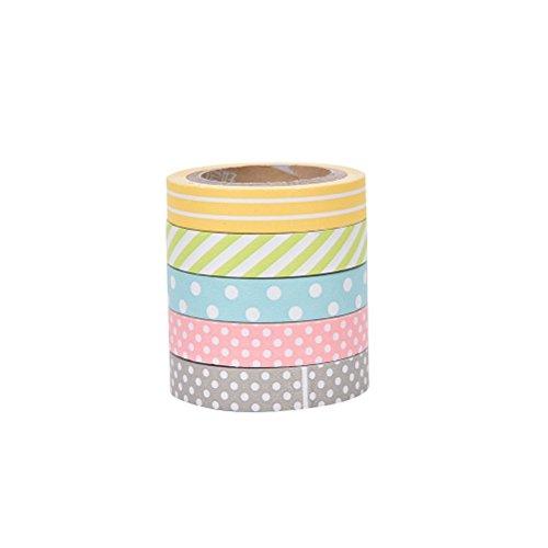 JUNGEN 5 Rollos Washi Tapes Set de Linda Cintas Adhesivas con Arco Iris Sticky Washi Cinta Etiquetas engomadas Decorativas para Scrapbooking DIY Manualidades Regalo (5 Rollos)