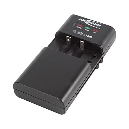ANSMANN PhotoCam Vario Universal-Ladegerät / Multifunktionale Ladestation für Li-Ion & Li-Po Kamera Akkupacks oder Mignon AA & Micro AAA NiMH Rundzellen Akkus / Mit Verpolschutz & LED-Anzeige