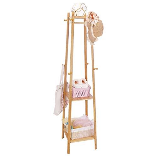 unho Perchero de Bambú con 3 Estantes y 8 Ganchos 168 x 40 x 40cm Perchero Pie para Bolsas Sombreros Ropa Zapatos Canastas Ideal para Dormitorio Entrada Pasillo