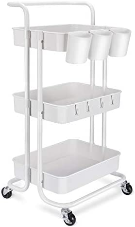 3 Tier Rolling Mobile Utility Cart with Hanging Cups Hooks Handle Multifunctional Organizer product image