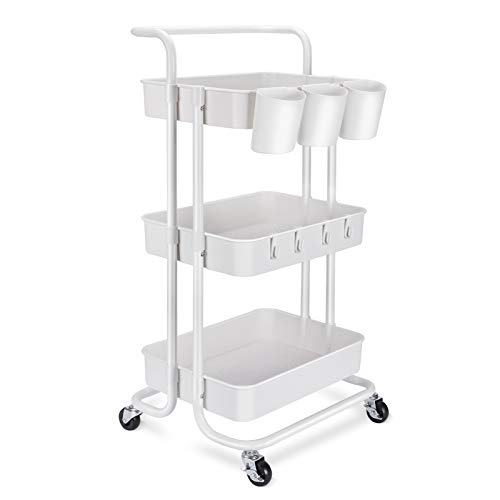 3-Tier Rolling Mobile Utility Cart with Hanging Cups & Hooks & Handle Multifunctional Organizer Storage Trolley Service Cart with Wheels Easy Assembly...