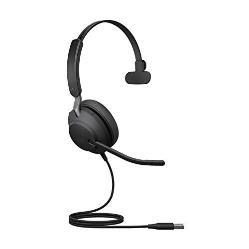 Jabra Evolve2 40 Headset – Noise Cancelling UC Zertifizierte Mono Kopfhörer mit 3 Mikrofonen – USB-A Kabel – schwarz