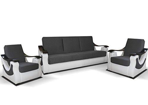 mb-moebel Polstergarnitur Sofa 3er & 2X Sessel 3-1-1 Möbel Set mit Bettkasten und Schlaffunktion Grau + Weiß Byron 311